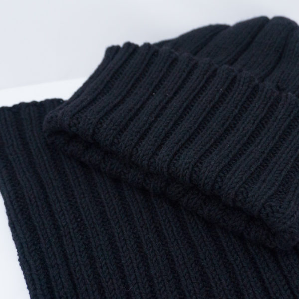 Black Cashmere Mens Hat and Cowl