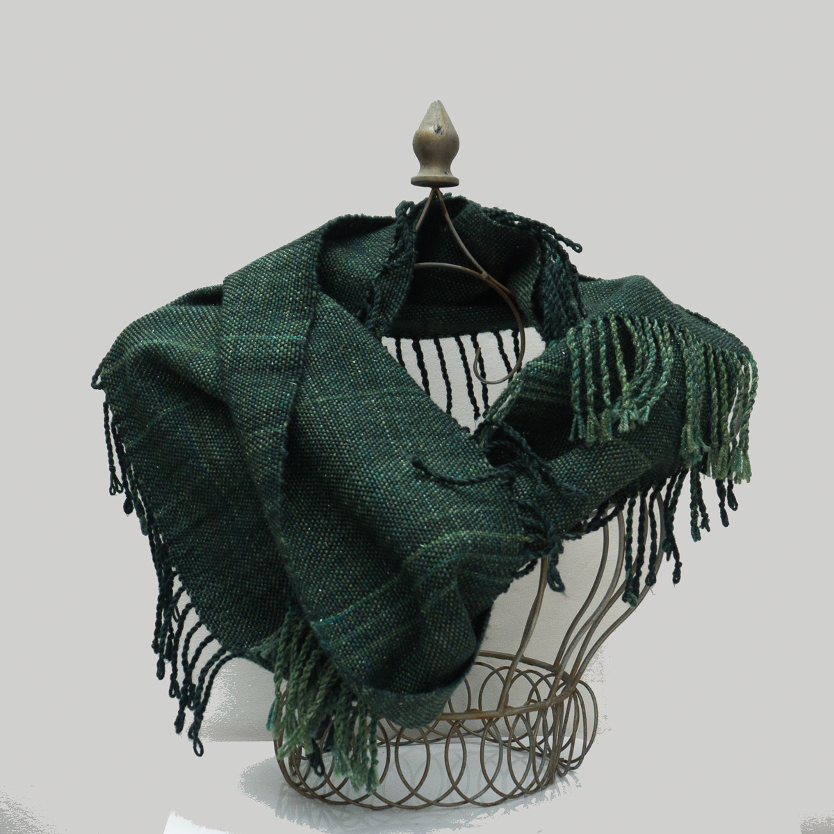 Ladies Scarf Handwoven from merino wool, silk and silver stellina