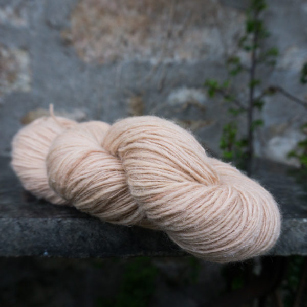 Plant dyed singles yarn dyed with avocado
