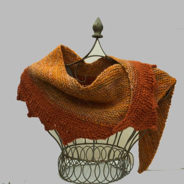 Hand Knitted Shawl from Hand Spun Merino Wool