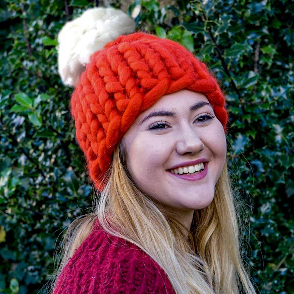 Super Chunky Knit Santa Hat with Pom Pom