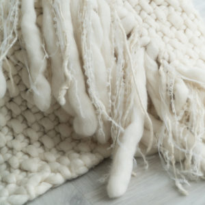 Super Chunky Throw in Moss Stitch with textured fringe