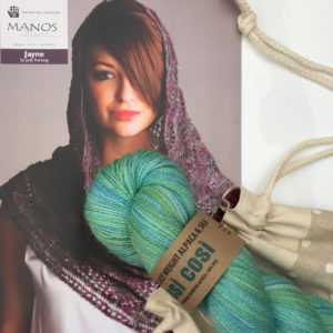 Lace Weight Summer Shawl Knitting Kit in Blue Green
