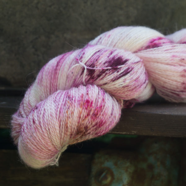 hand dyed speckled lace weight yarn