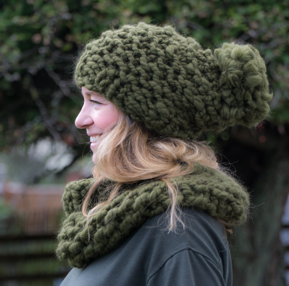 f80127db17a Gift for Her Winter Hat   Bobble Hat Super Bulky Hand Knit Hand spun ...
